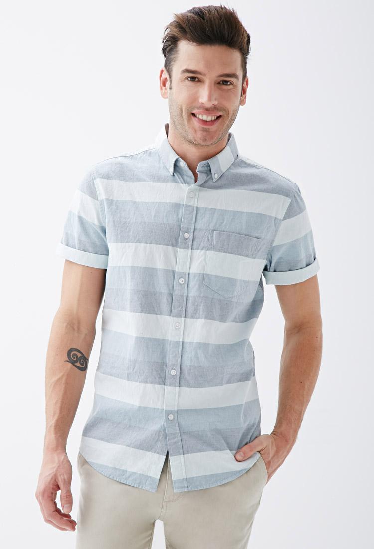 Lyst forever 21 striped oxford shirt in blue for men for Mens blue oxford shirt