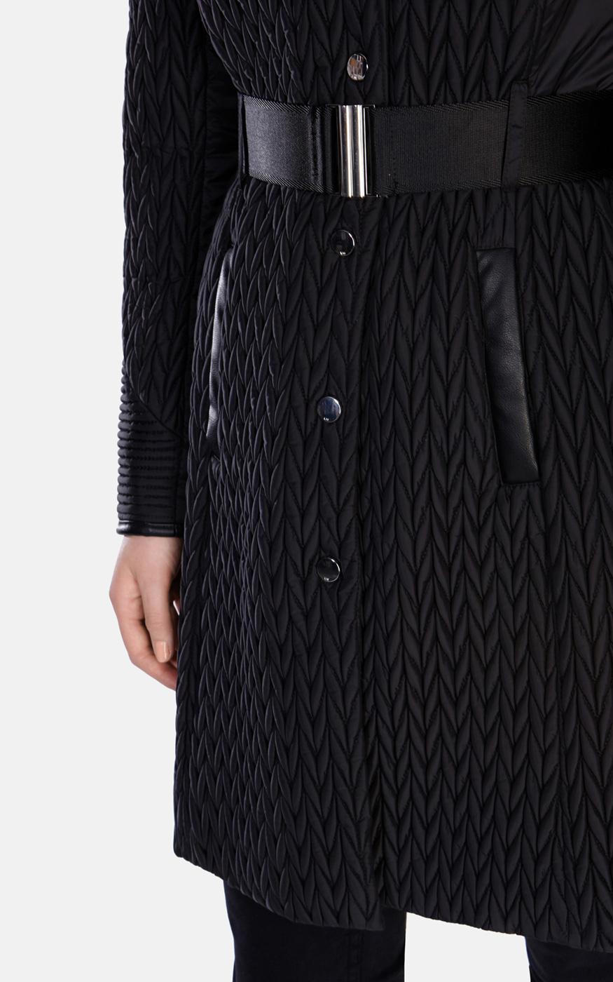 833bd8d09f Karen Millen Lightweight Quilted Coat in Black - Lyst