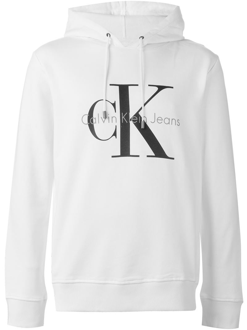 calvin klein jeans logo print hoodie in white for men lyst. Black Bedroom Furniture Sets. Home Design Ideas
