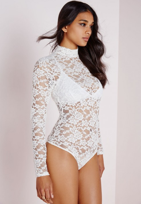 Lyst Missguided Lace Bodysuit White In White