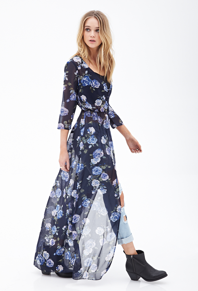 ea5a6ad227a Long Sleeve Floral Maxi Dress Forever 21