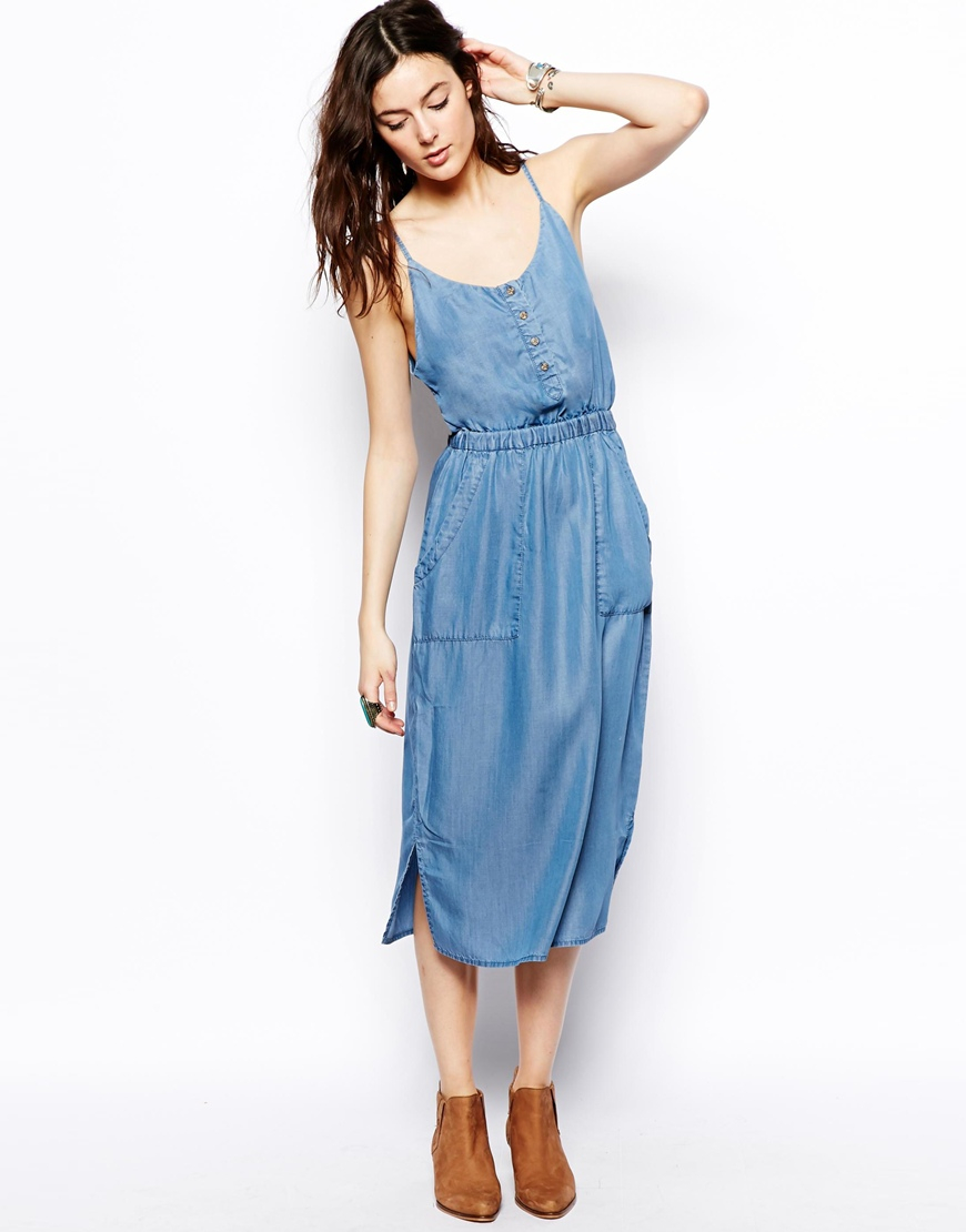 8b9ada07bd09eb ASOS Tencel Denim Cami Midi Dress in Blue - Lyst