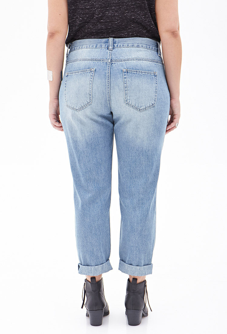 1340f82bd56d Forever 21 High-Waisted Distressed Boyfriend Jeans in Blue .