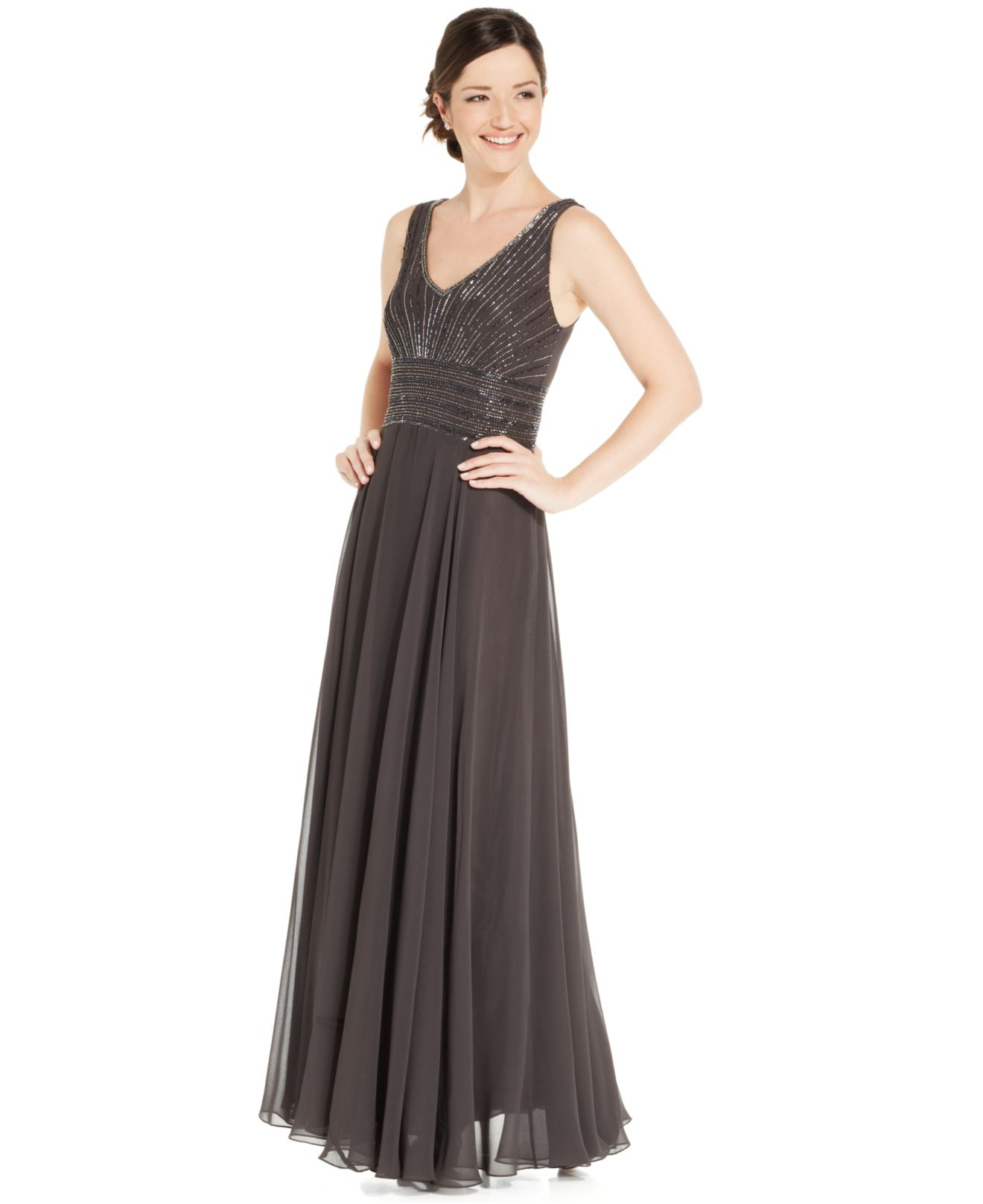 3766cfb59c11 J Kara Sleeveless Beaded Chiffon Gown And Jacket in Brown - Lyst