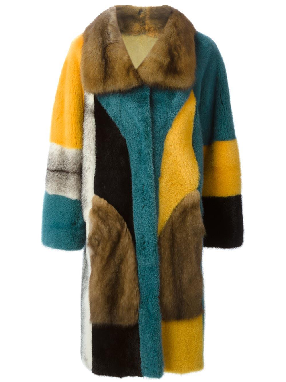 Liska Reversible Fur Coat In Multicolor Multicolour Lyst