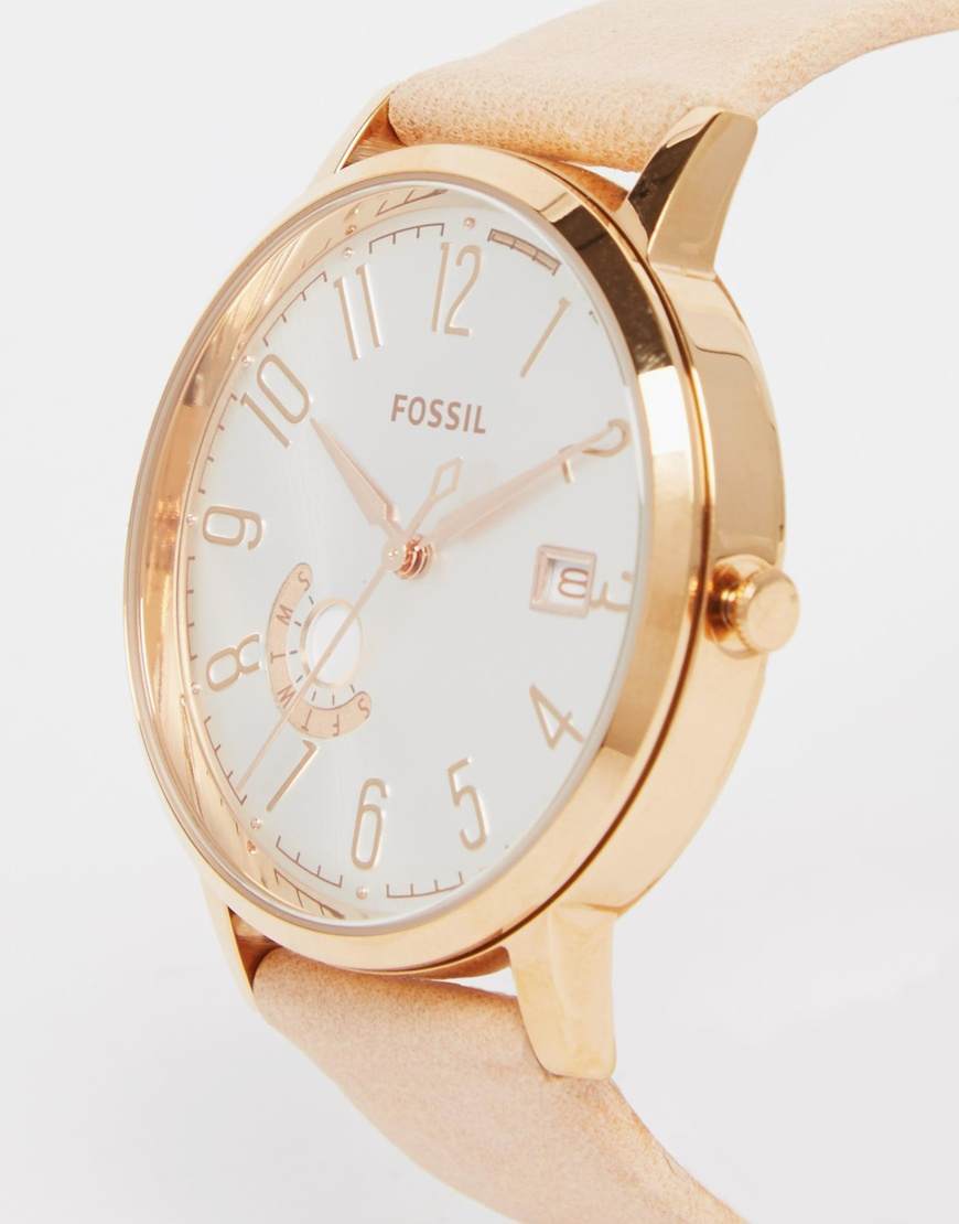 Fossil Riley Rose Gold Tone Stainless Steel Case And Nude
