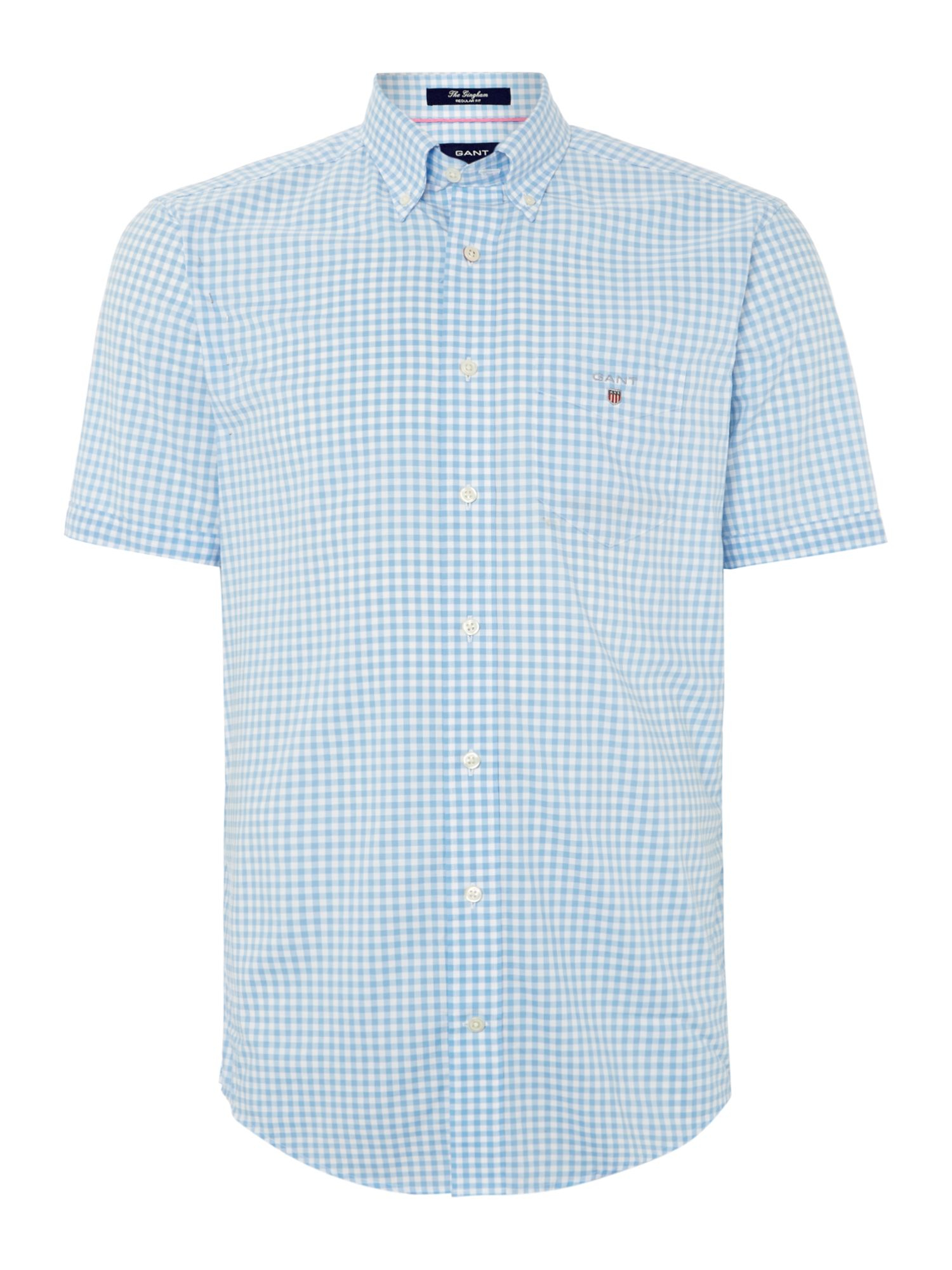 Gant gingham classic fit short sleeve shirt in blue for for Light blue short sleeve shirt mens