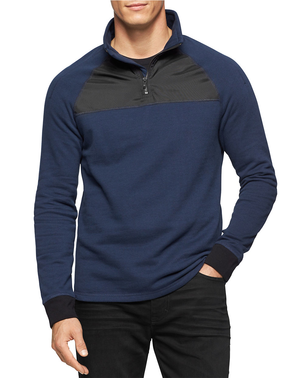 calvin klein jeans quarter zip pullover in blue for men lyst. Black Bedroom Furniture Sets. Home Design Ideas