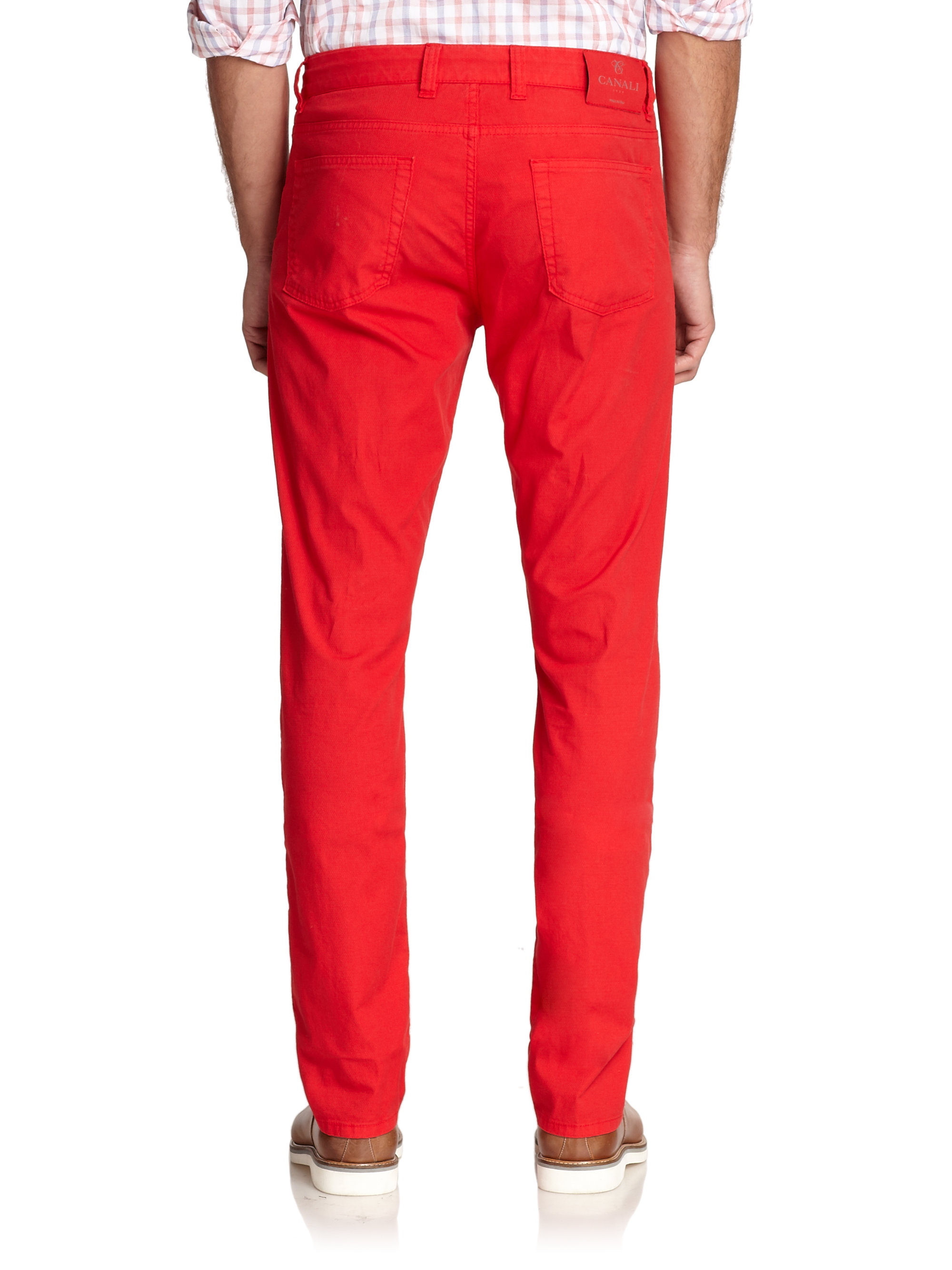 Canali Colored Straight-leg Jeans in Red for Men   Lyst