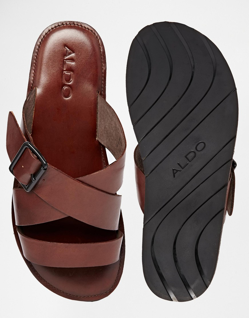 Aldo Sangha Leather Buckle Sandals In Brown For Men Lyst
