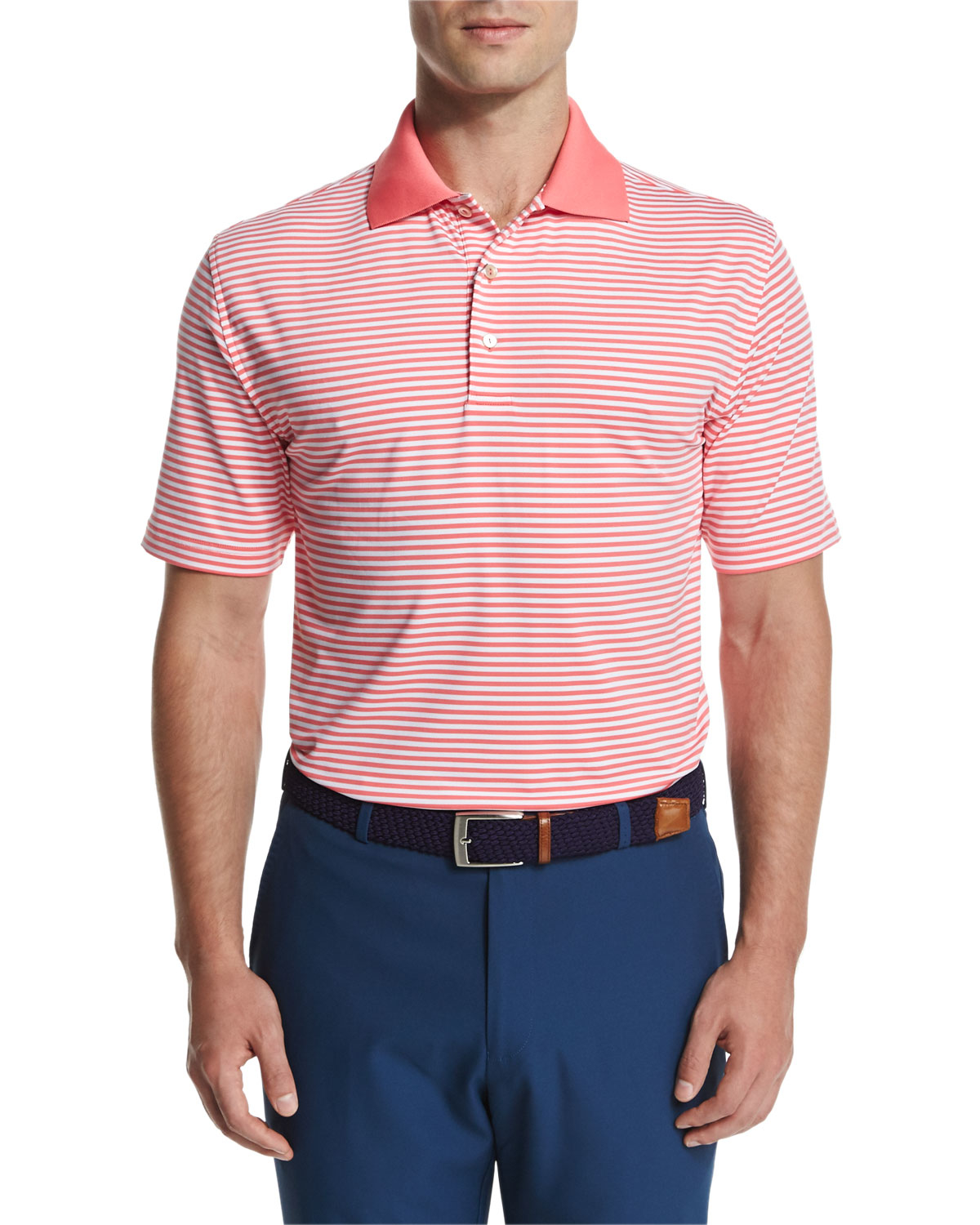 Peter Millar Competition Stripe Stretch Jersey Polo Shirt