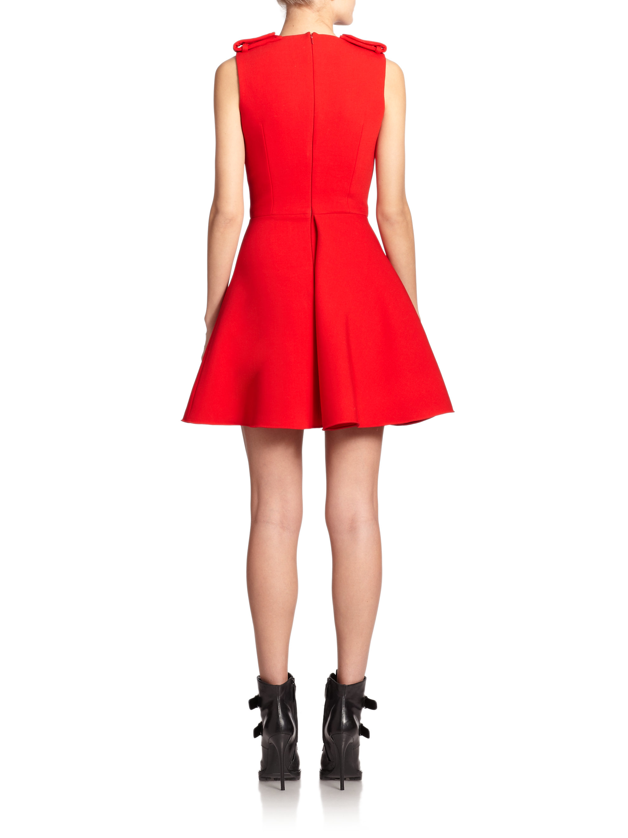 Alexander Mcqueen Military Fit Amp Flare Dress In Red Lyst