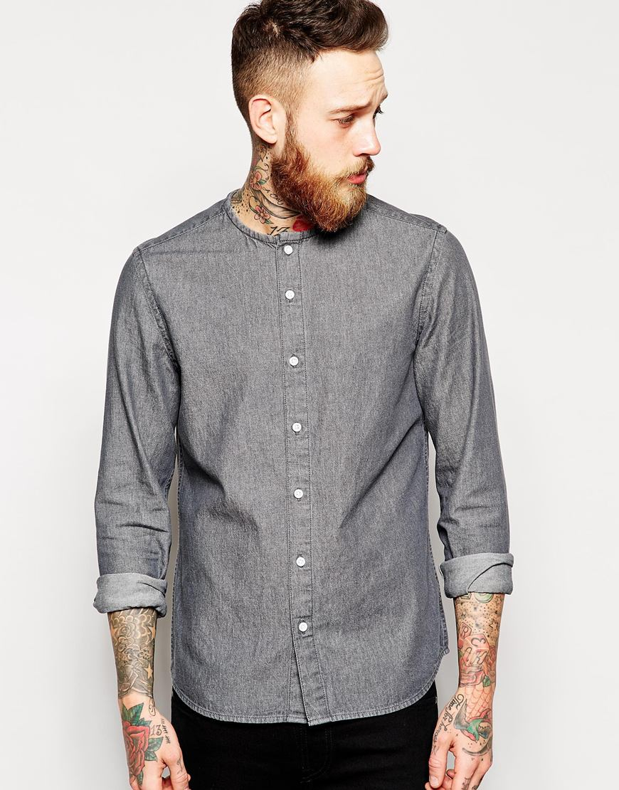 Asos Denim Shirt In Long Sleeve With Collarless Neck