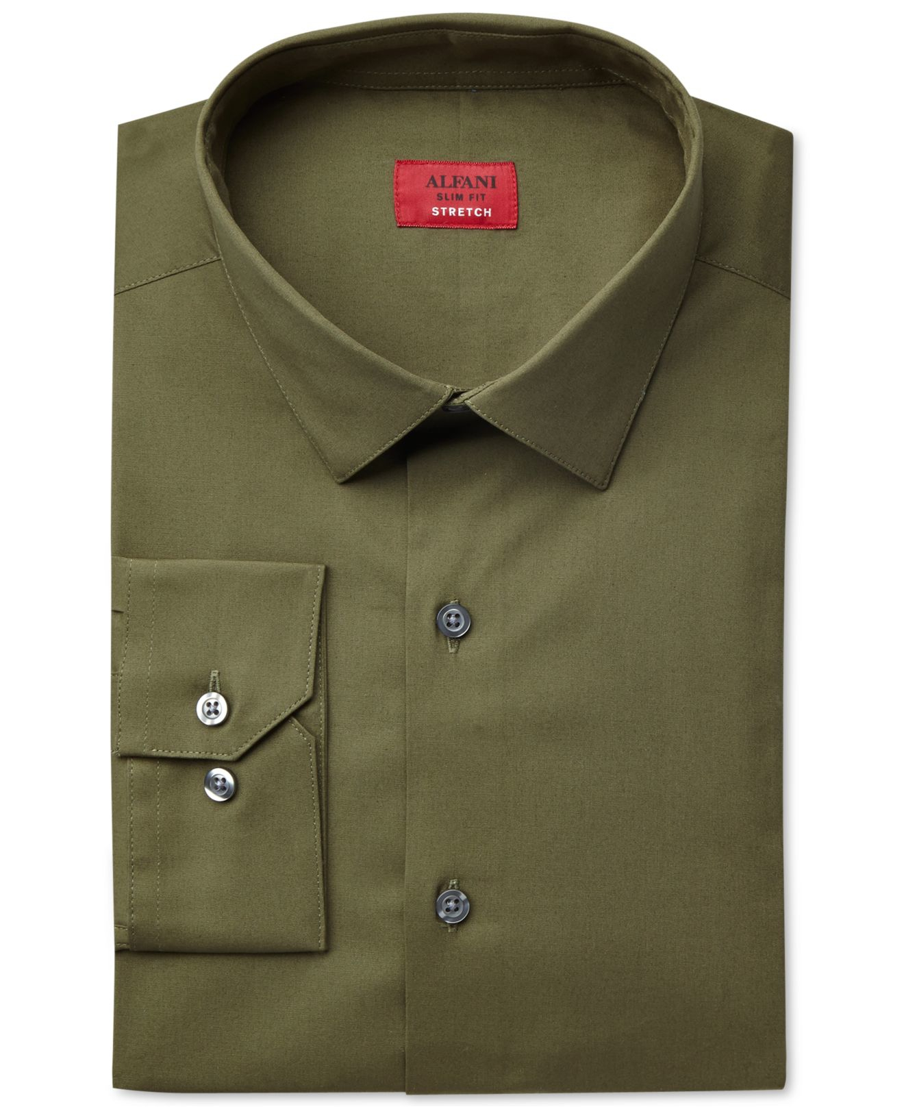 alfani spectrum slim fit solid dress shirt in green for