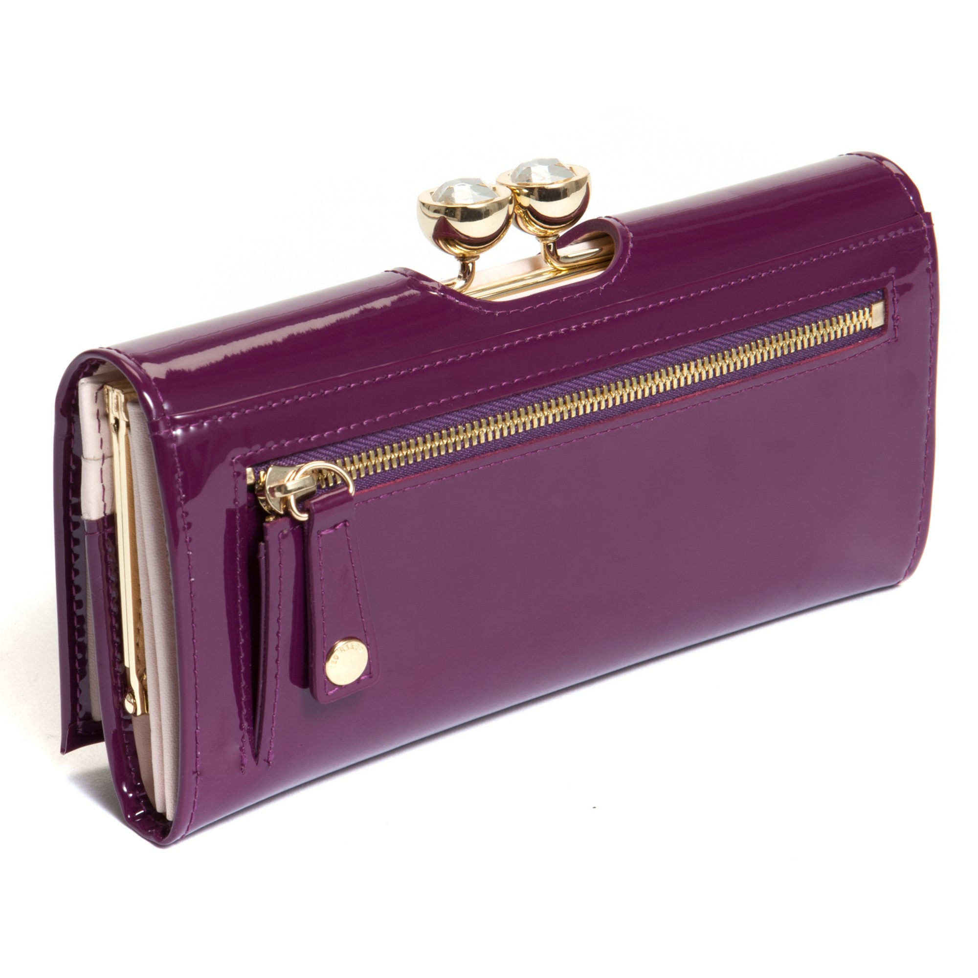 43c5c3cedc01 Ted Baker Kady Crystal Bobble Leather Matinee Purse In Purple Lyst. Ted  Baker Bear Foil Detail ...