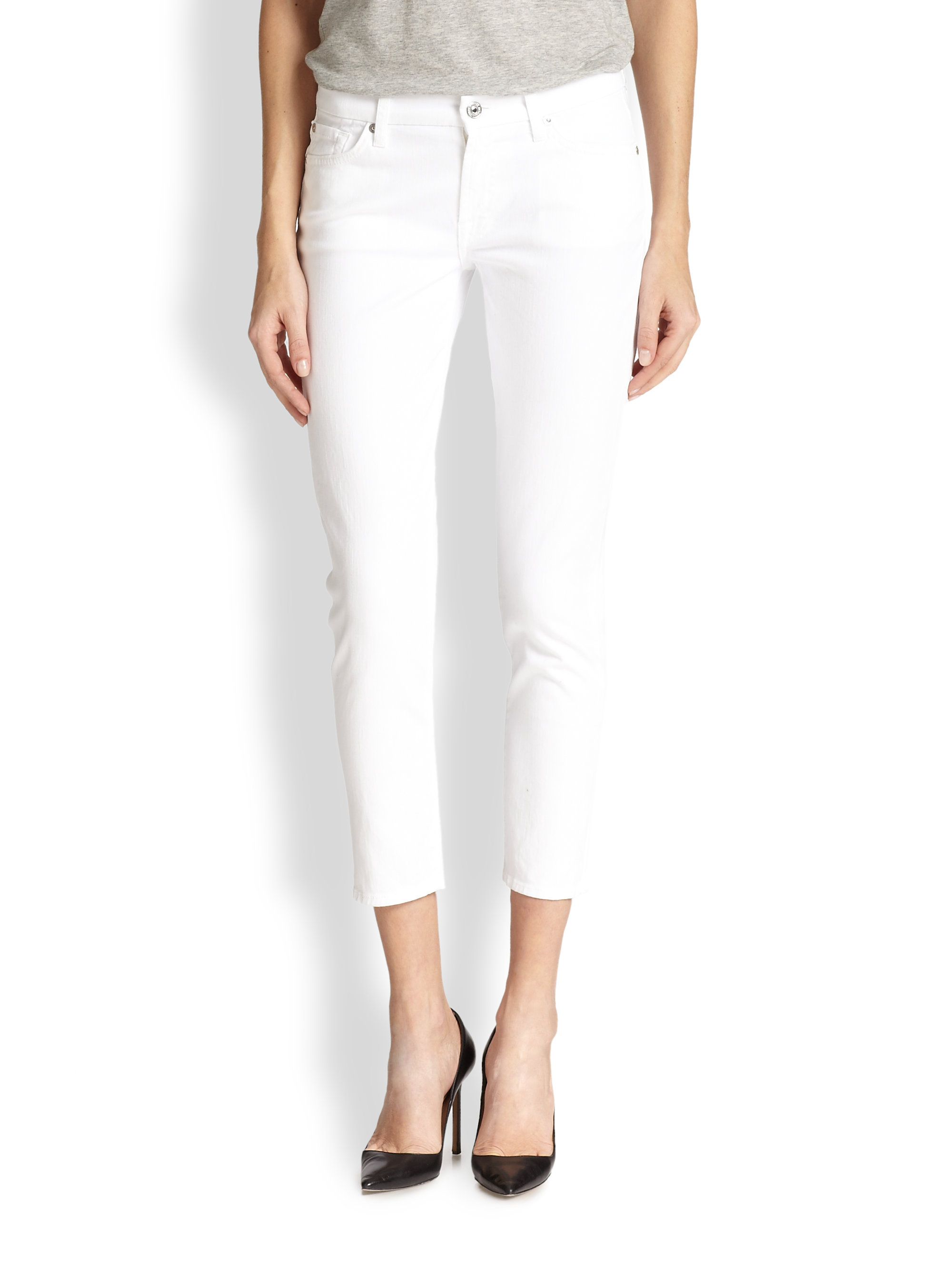 7 for all mankind Kimmie Cropped Skinny Jeans in White | Lyst