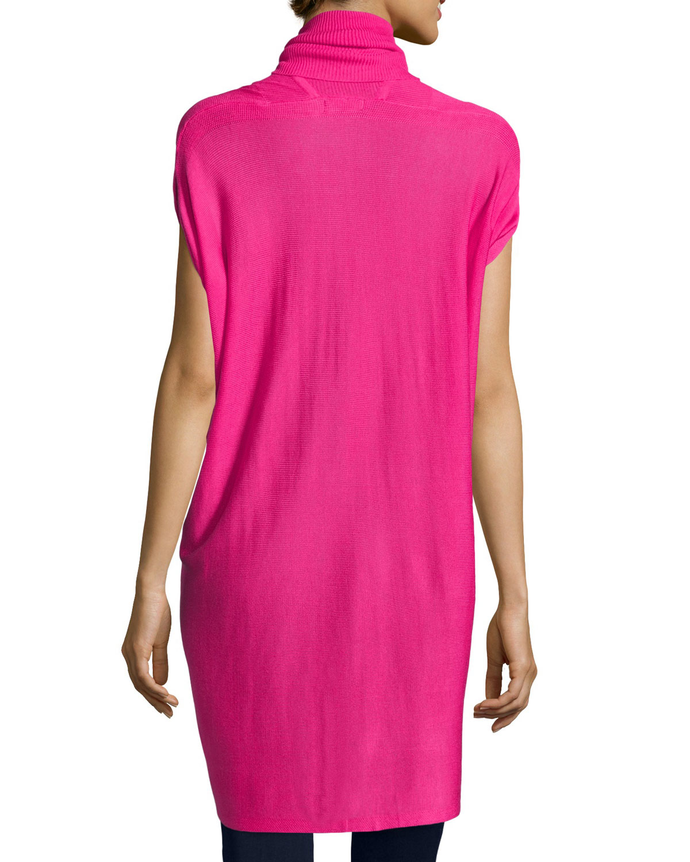 Neiman marcus Drape-front Short-sleeve Cardigan in Pink | Lyst