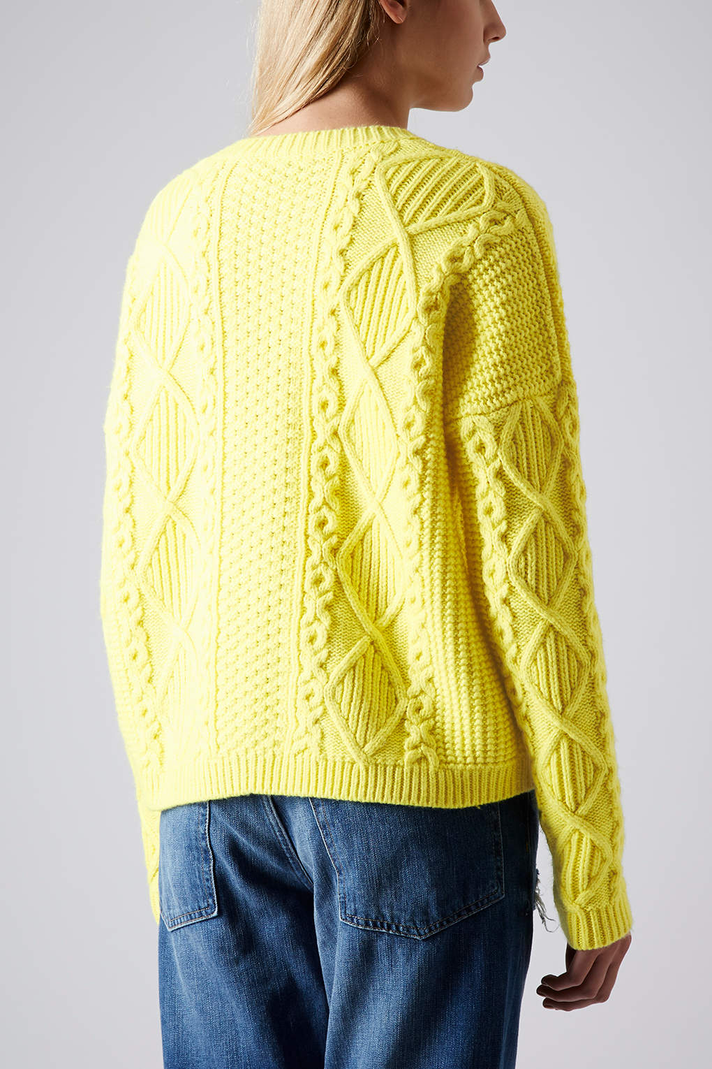 Lyst Topshop Knitted Angora Cable Jumper In Yellow