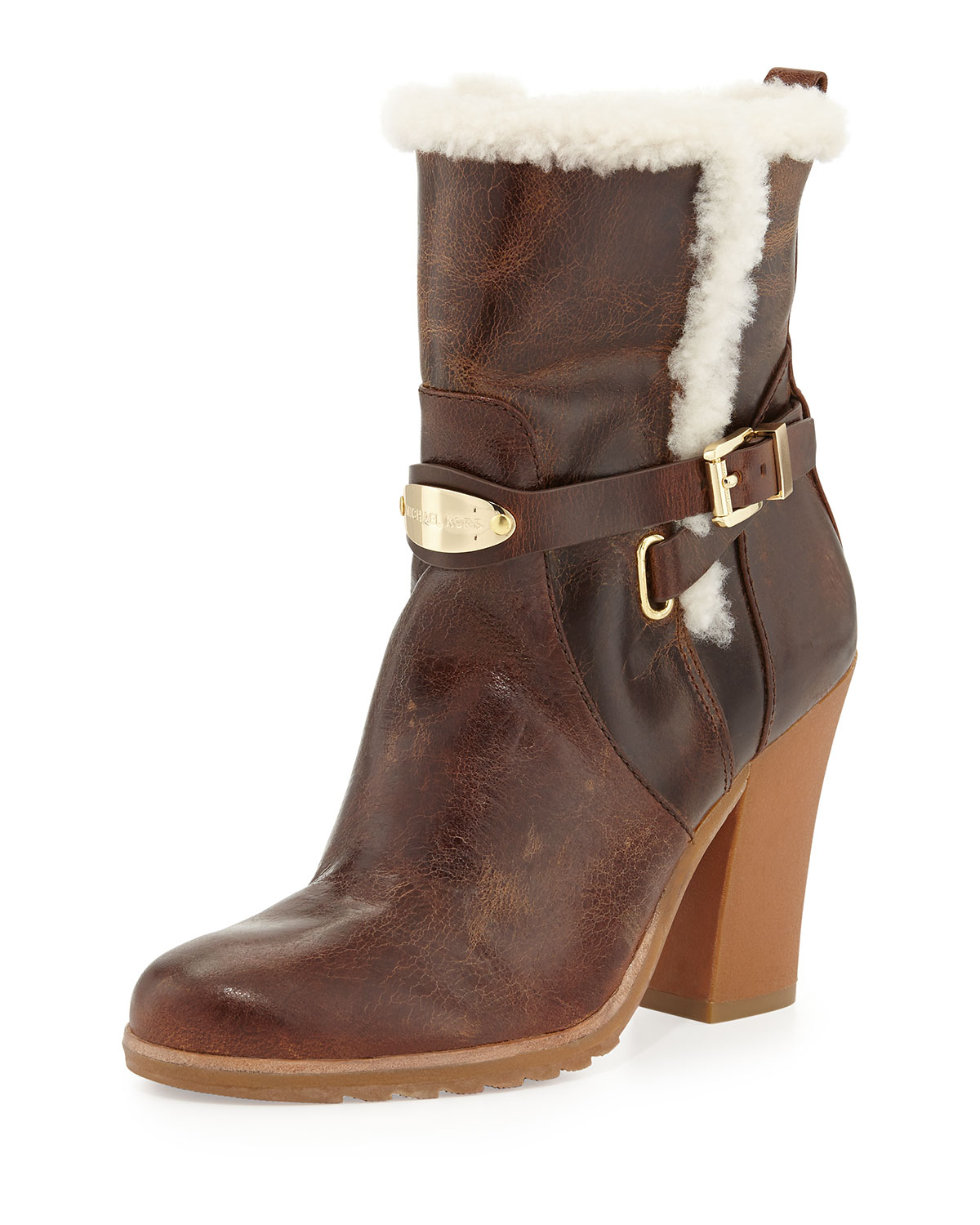 Michael michael kors Lizzie Fur-Lined Ankle Boot in Brown | Lyst