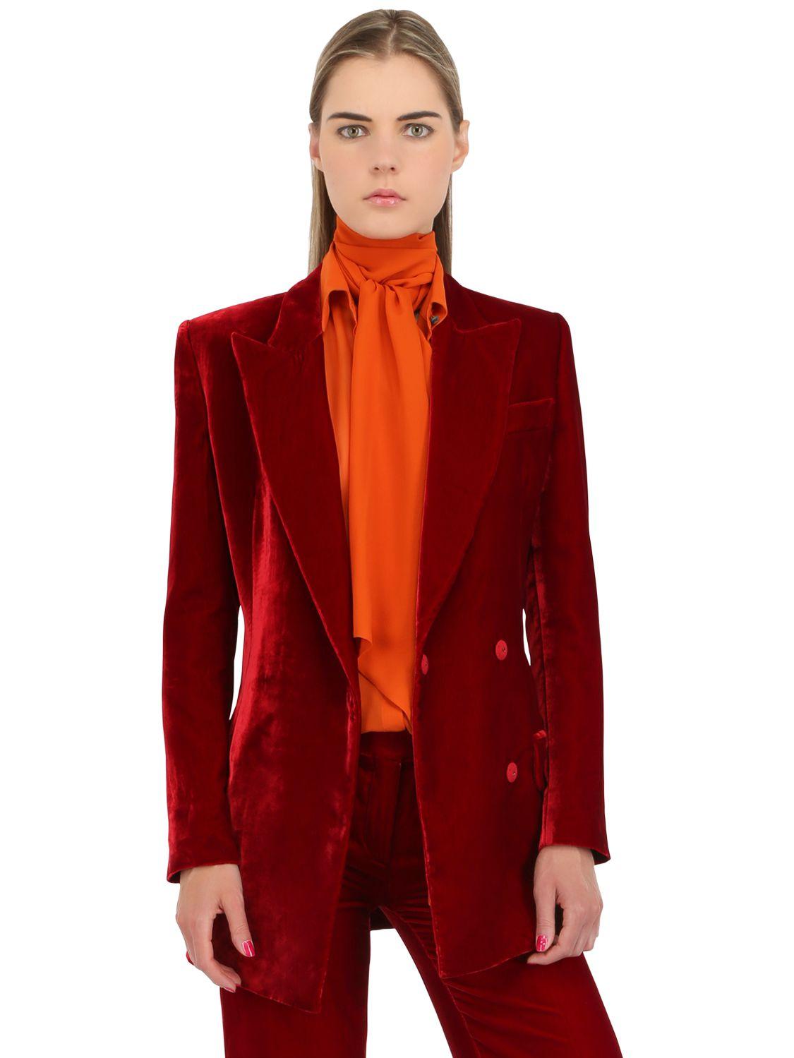 Emilio Pucci Viscose Amp Silk Blend Velvet Jacket In Red Lyst