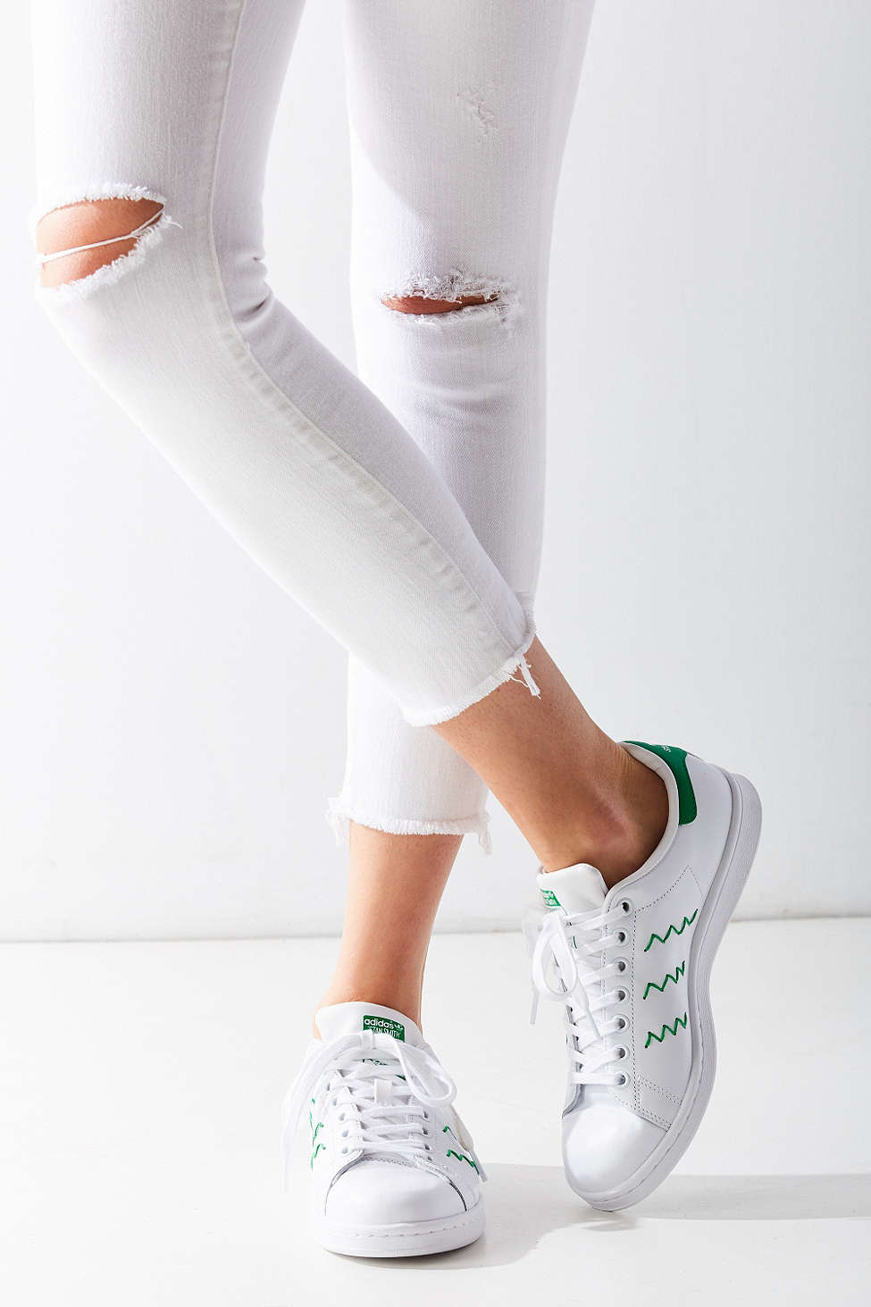 adidas originals zig zag stan smith sneaker in white lyst. Black Bedroom Furniture Sets. Home Design Ideas