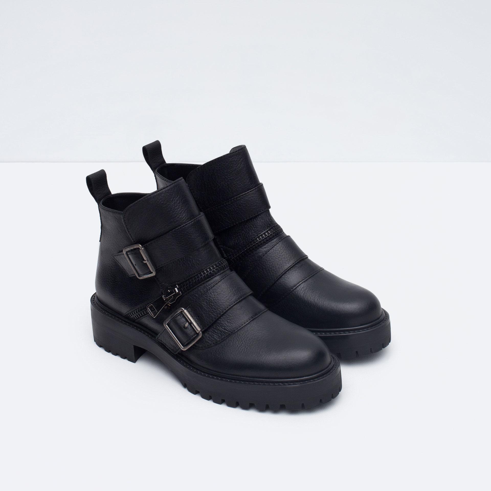 Zara Buckled Leather Biker Boot In Black Lyst