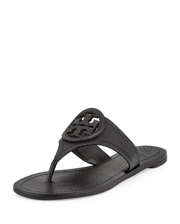 Lyst Tory Burch Louisa Logo Flat Thong Sandal In Black