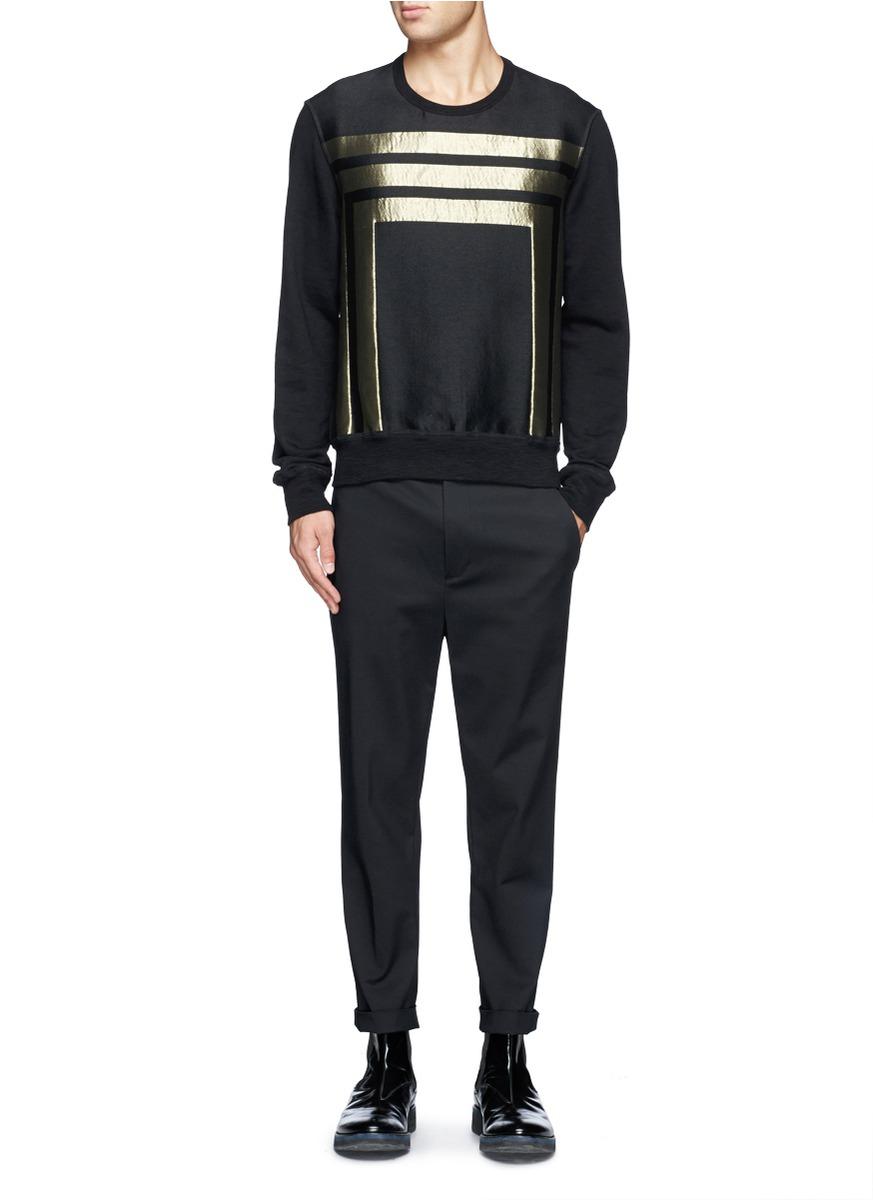 lyst alexander mcqueen metallic stripe sweatshirt in black for men. Black Bedroom Furniture Sets. Home Design Ideas