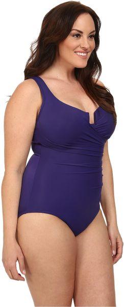 Miraclesuit Plus Size Solid Escape Swimsuit In Purple