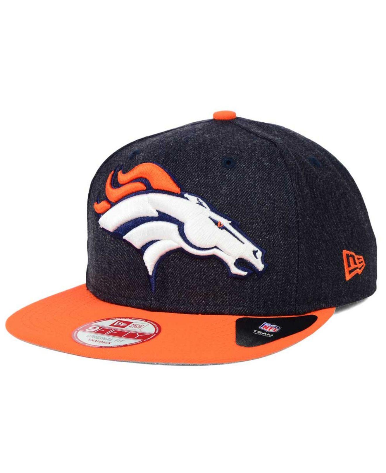 Lyst ktz denver broncos logo grand 9fifty snapback cap for Denver broncos colors