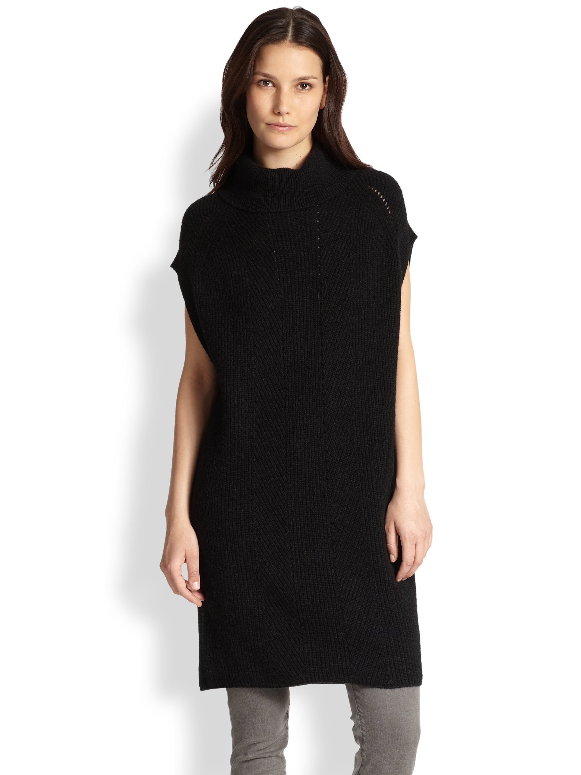 Vince Wool & Cashmere Ribbed Cowlneck Sweater Tunic in Black | Lyst