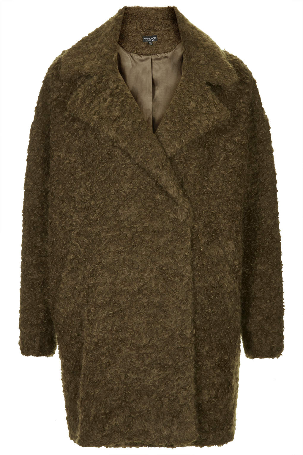 Topshop Womens Slouchy Mohair Boyfriend Coat Olive in ...