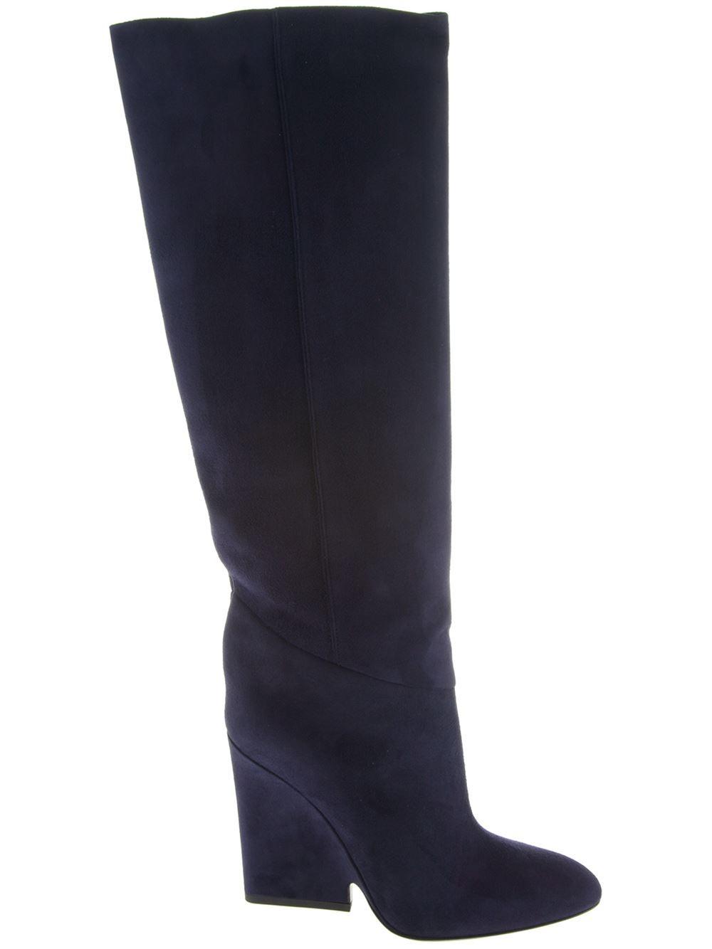 jimmy choo cartel knee high boots in blue lyst