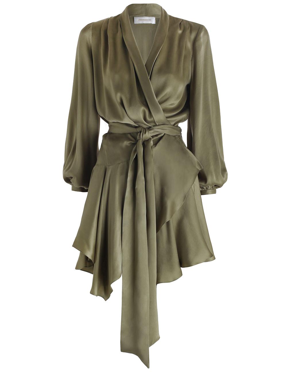 lyst zimmermann empire sueded robe dress in green. Black Bedroom Furniture Sets. Home Design Ideas