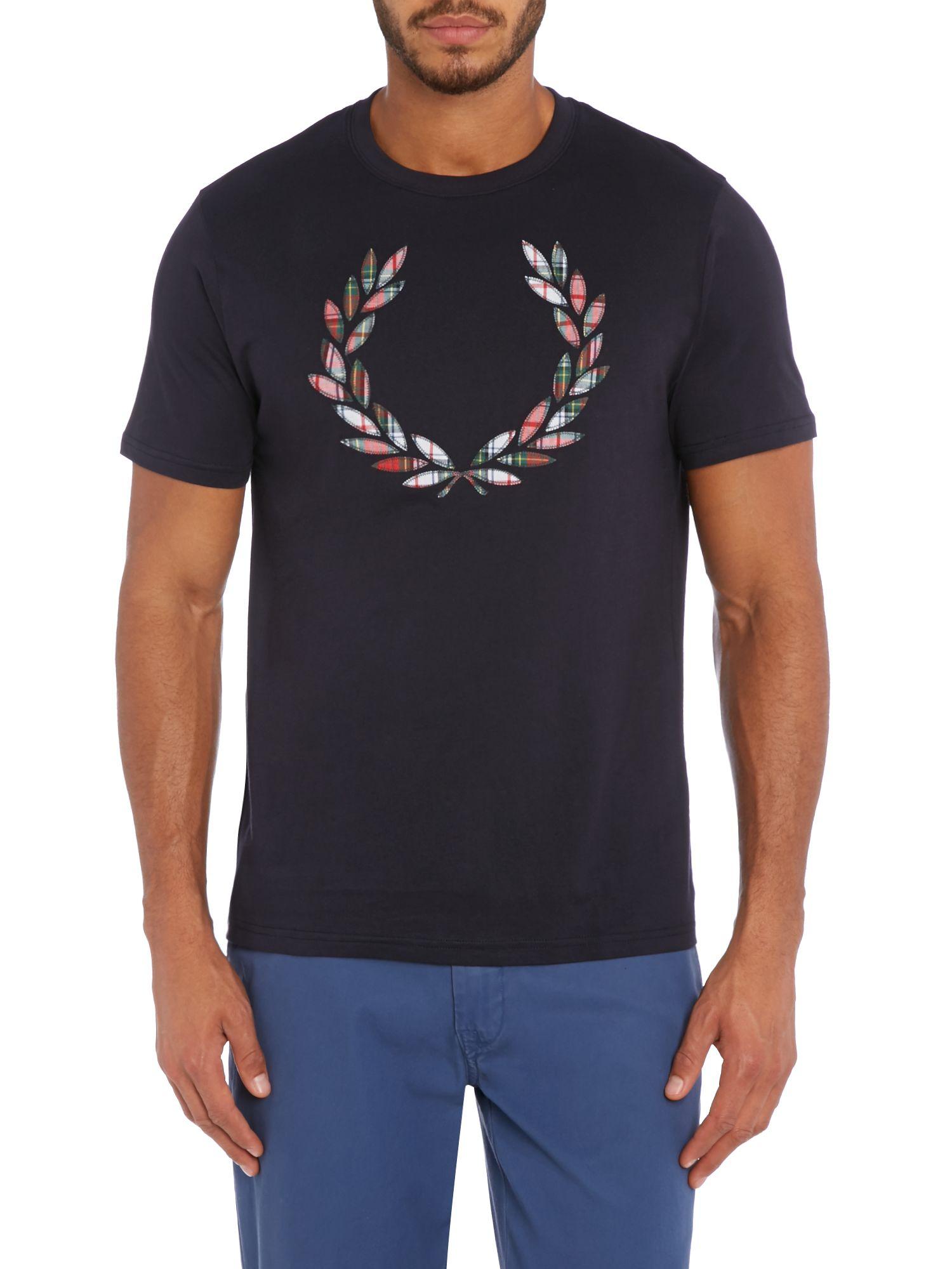 fred perry tartan laurel wreath short sleeve t shirt in blue for men. Black Bedroom Furniture Sets. Home Design Ideas