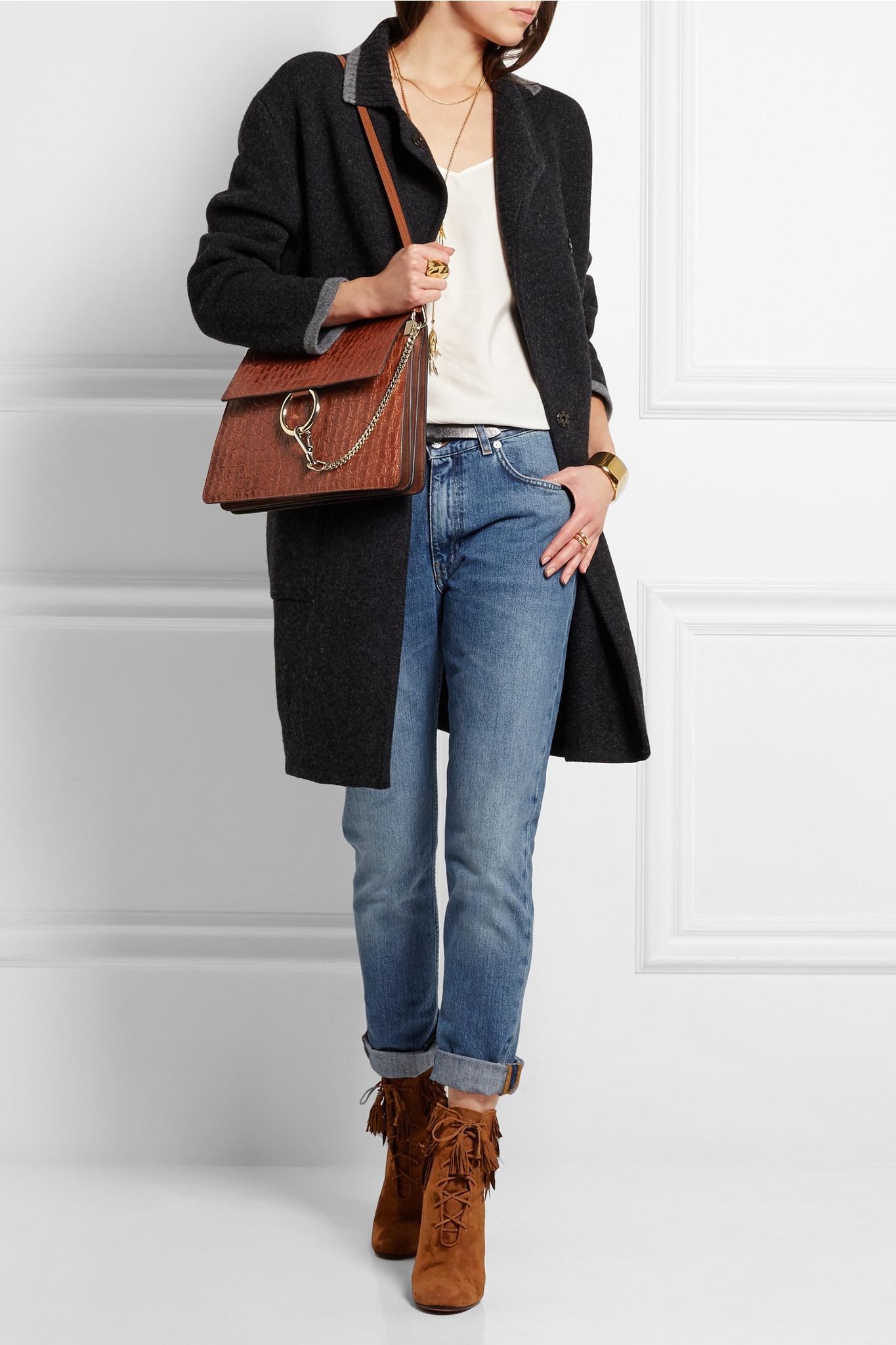 Chlo�� Chlo�� Faye Medium Croc-effect Leather Shoulder Bag in Brown ...