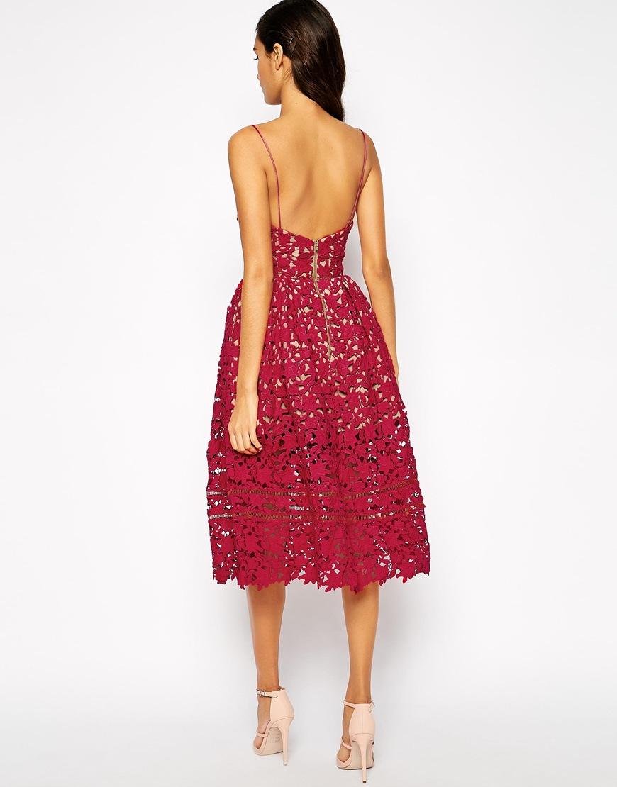 20bbfab1e3a2 Self-Portrait Azaelea Midi Dress In Textured Lace in Red - Lyst