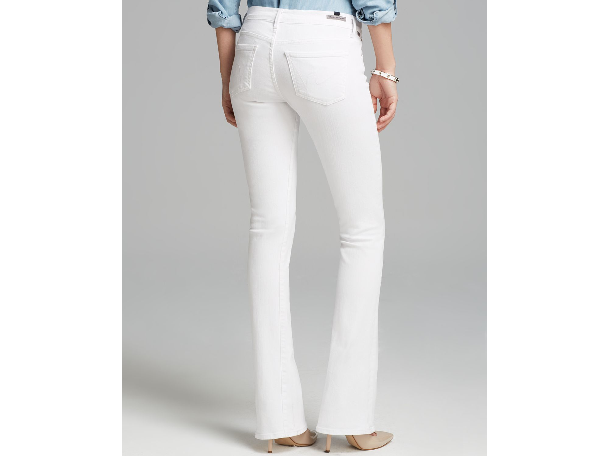 bootcut white jeans - Jean Yu Beauty
