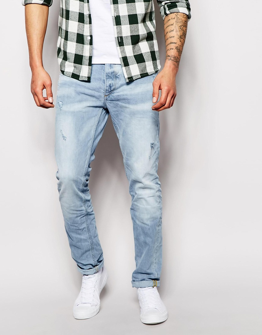79fc64d9 Jack & Jones Slim Fit Jeans With Rips in Blue for Men - Lyst