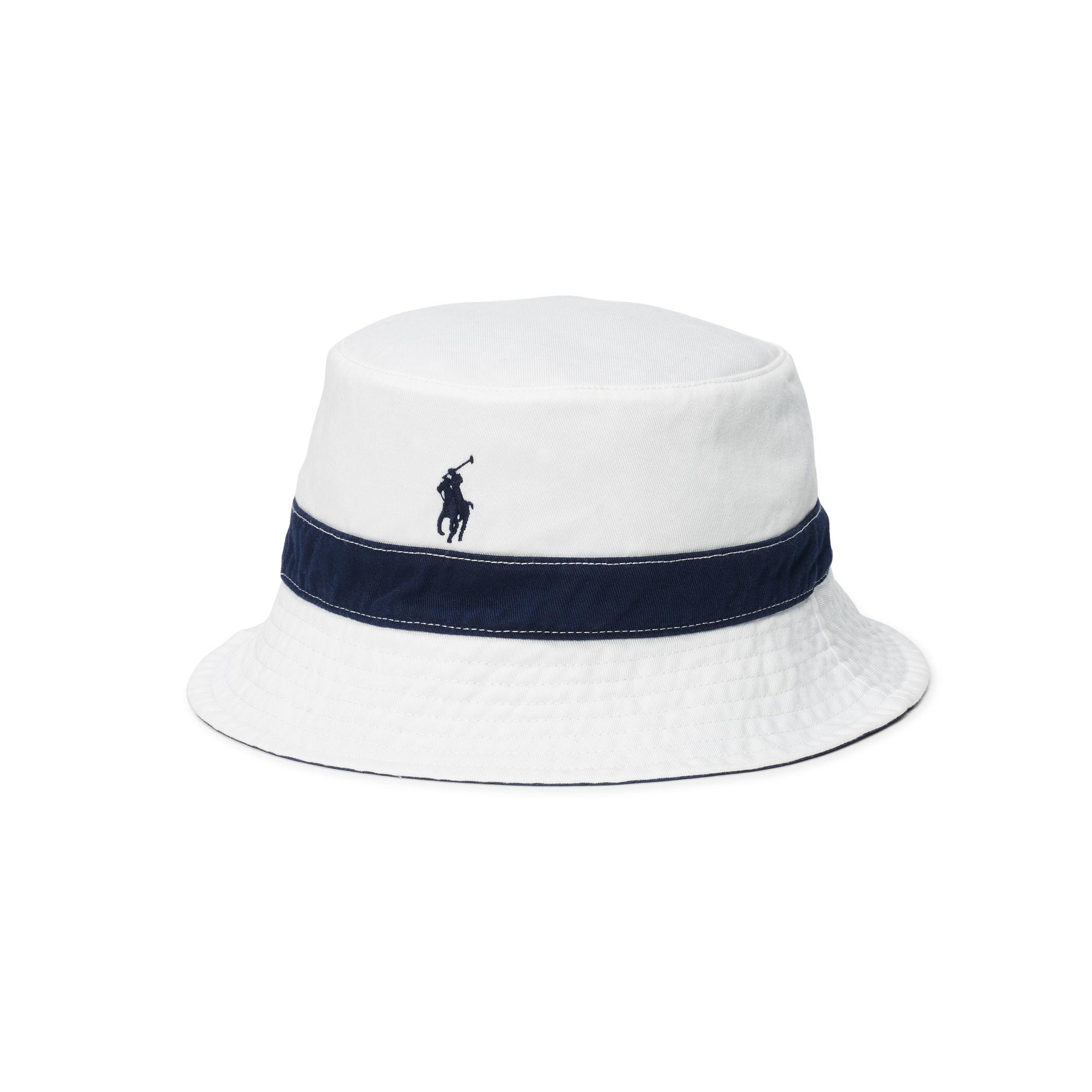 polo ralph lauren reversible twill bucket hat in blue for