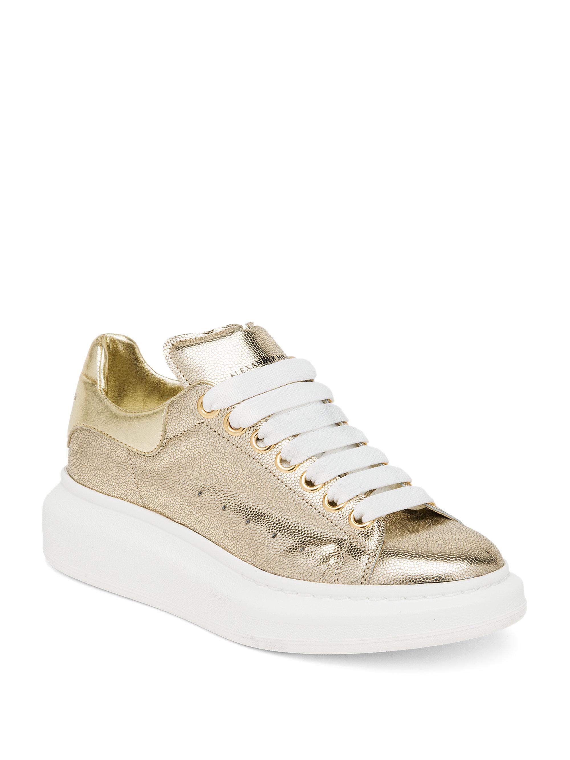 9f3617984 Alexander McQueen Embossed Metallic Leather Platform Sneakers in ...