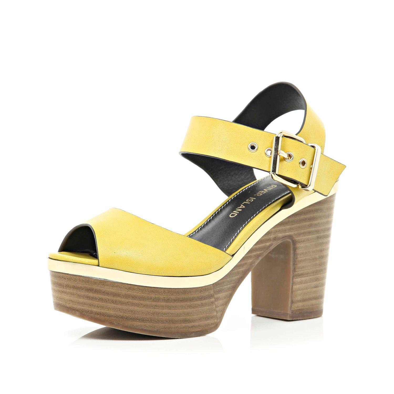 River Island Yellow Peep Toe Platform Sandals In Yellow Lyst