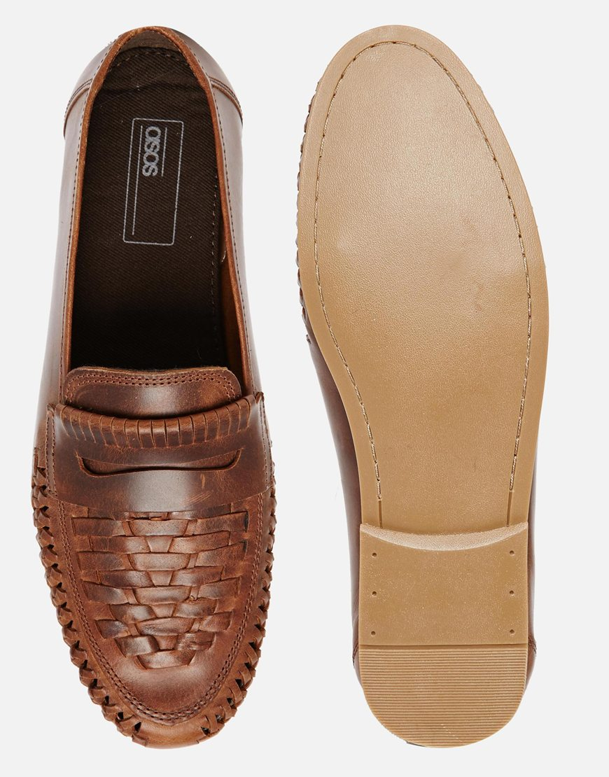 Lyst Asos Woven Loafers In Leather In Brown For Men