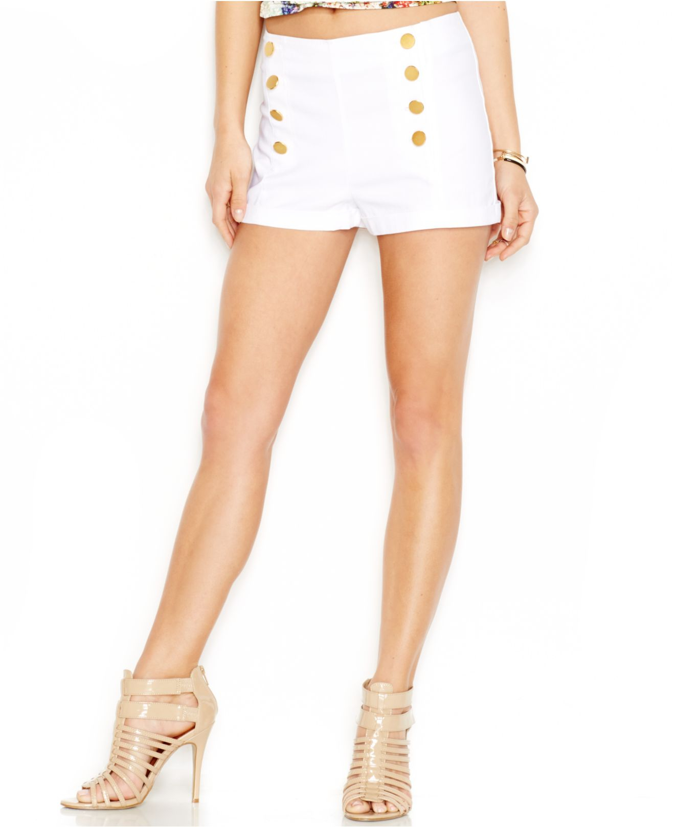 Guess Button Front High Waist Shorts In White Lyst
