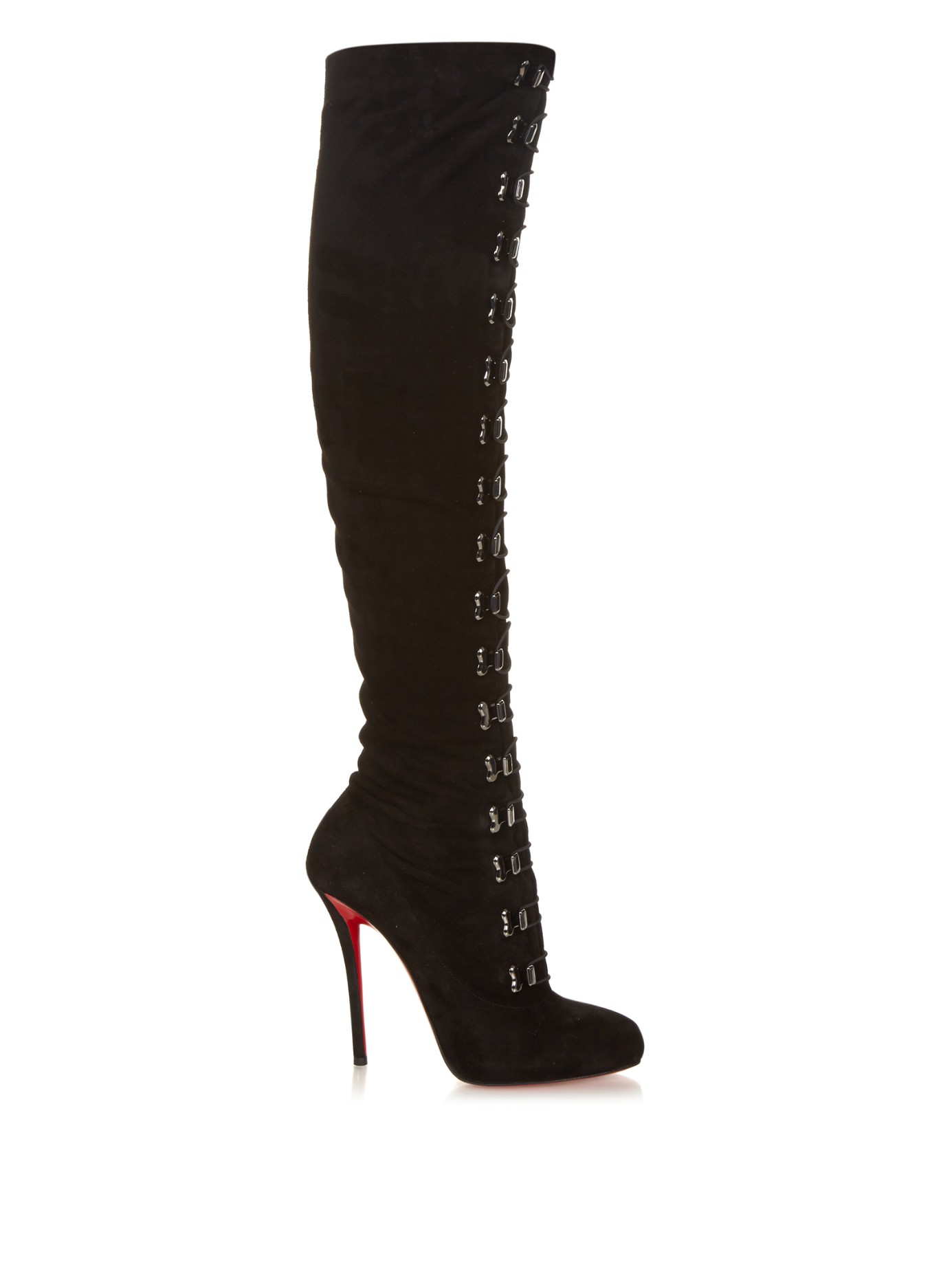 christian louboutin top croche suede the knee boots