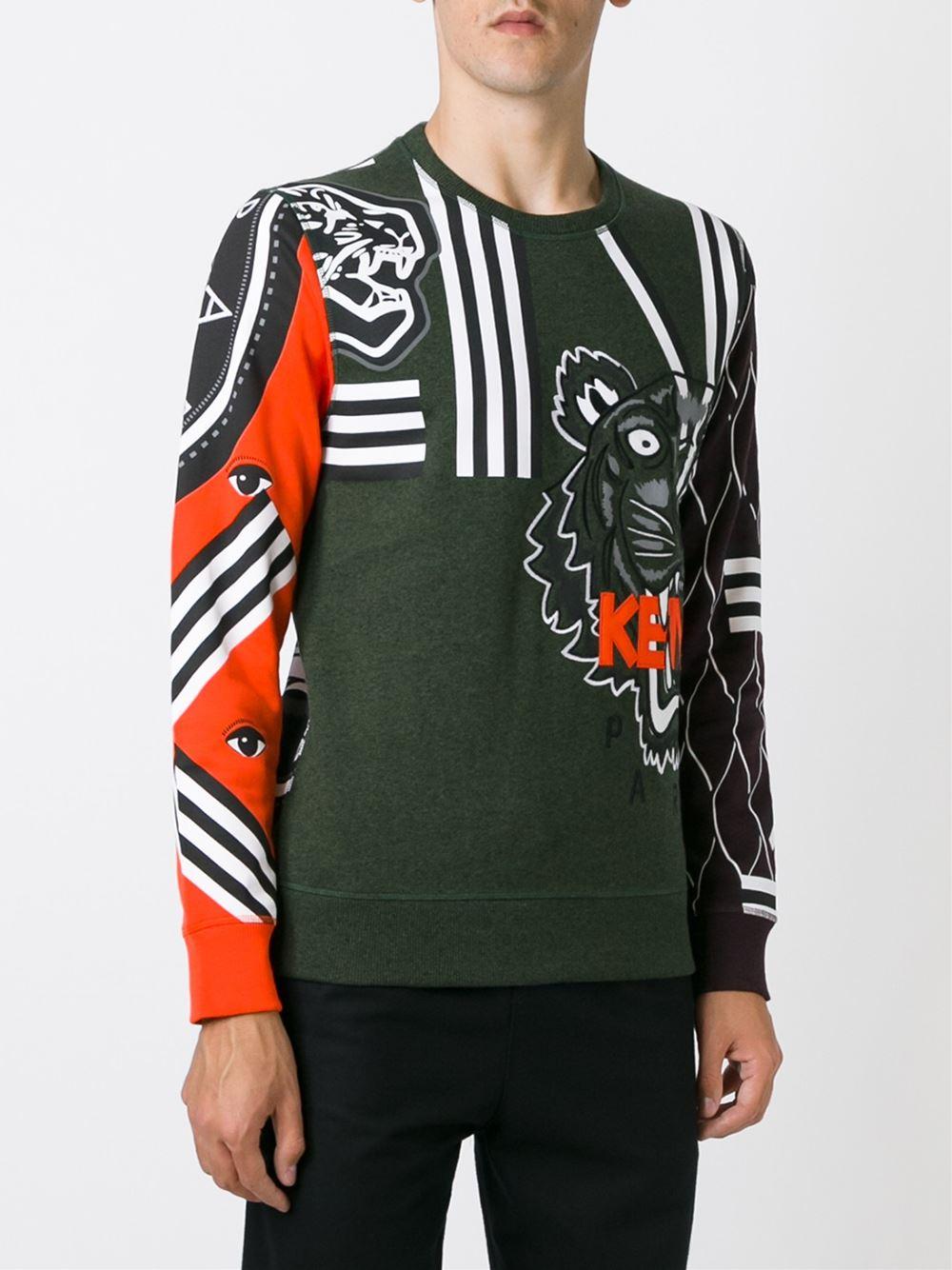 9a7ba24b00 KENZO Cotton Multi Logo Sweatshirt in Green for Men - Lyst