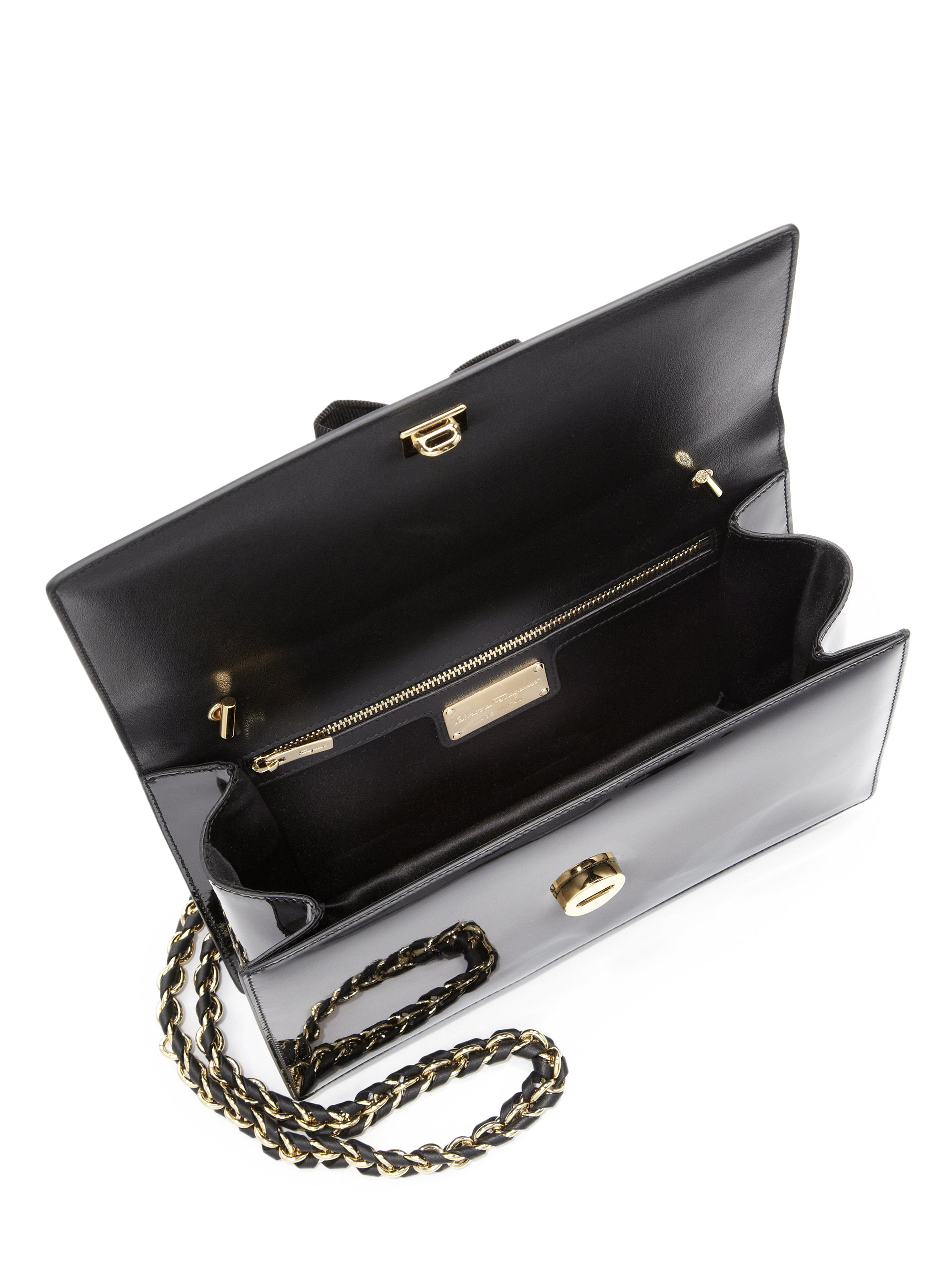 Ferragamo Ginny Medium Patent Leather Crossbody Bag in Black - Lyst