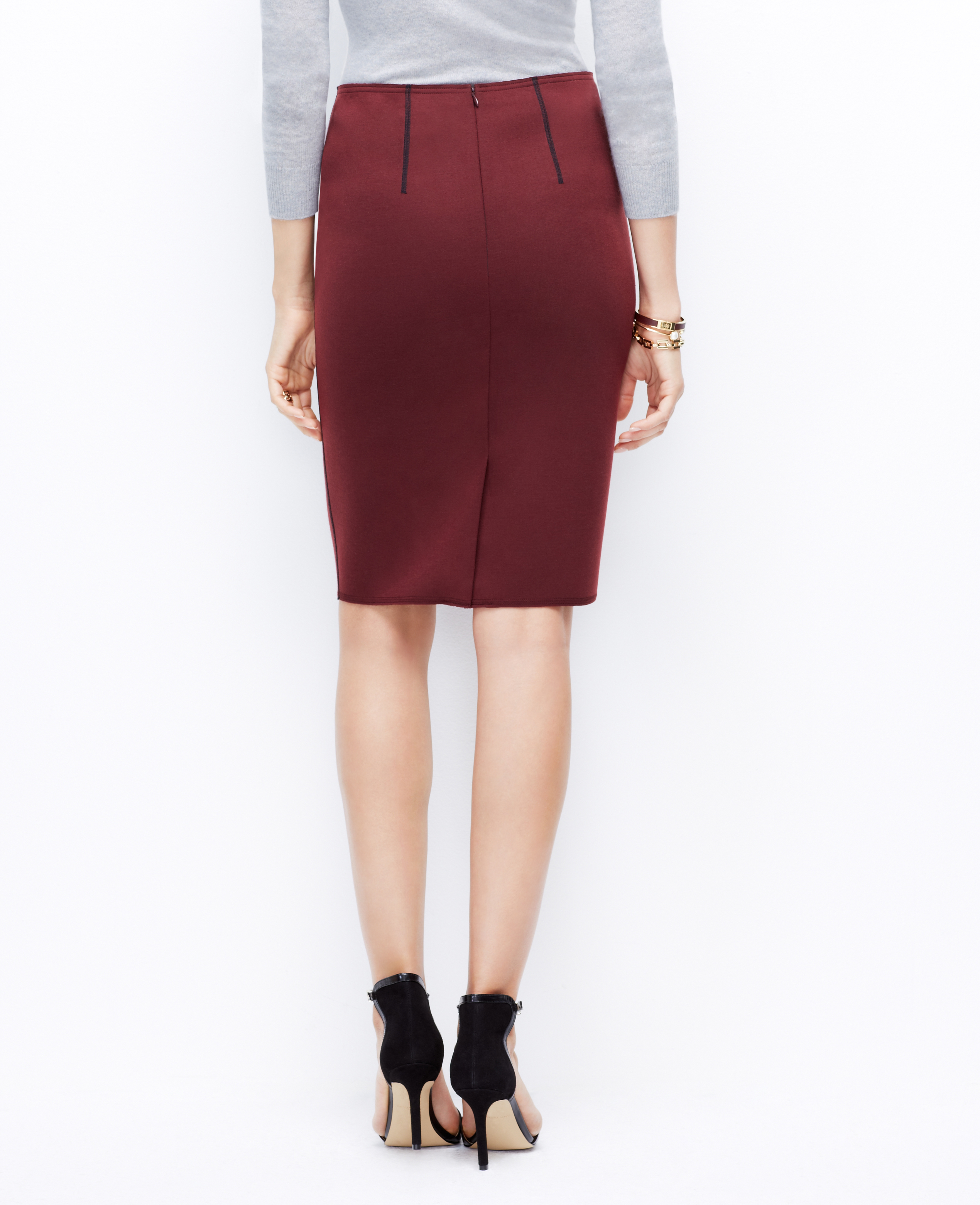 tipped jersey pencil skirt in chianti lyst