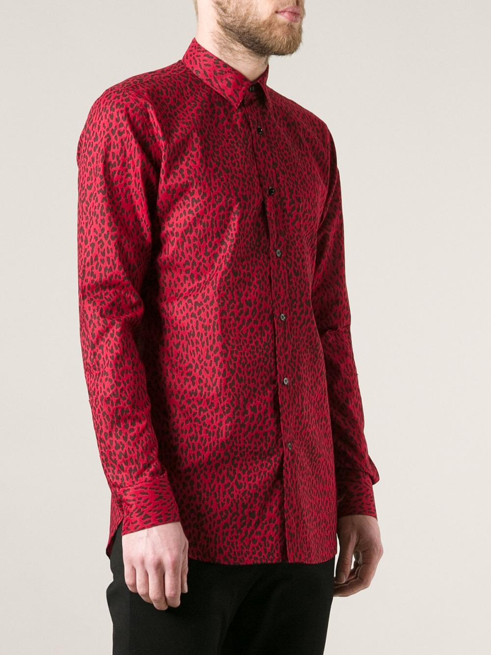 2c71725d74 Saint Laurent Red Leopard Print Shirt for men