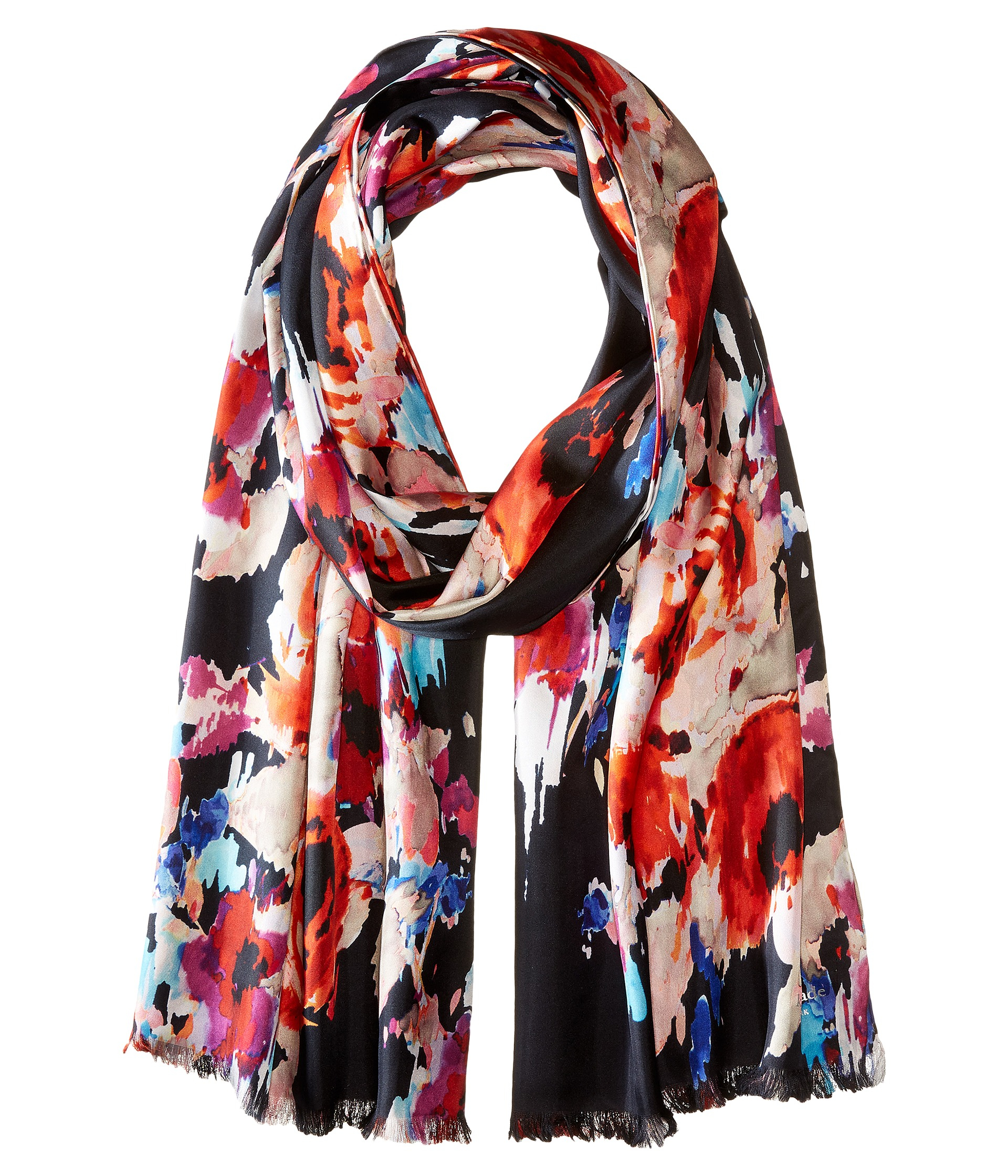 56facb3d773f0 Kate Spade Blurry Floral Oblong Scarf in Blue - Lyst